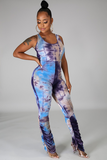 Tie Dye Cross Back Jumpsuit