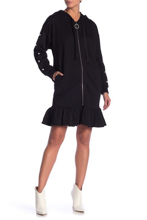 Knit Pearl Zip Up Hoodie Dress
