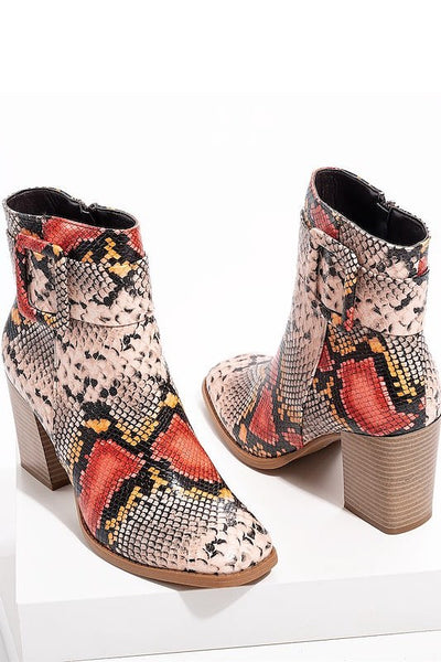 Chunky Heel Snake Bootie with Buckle