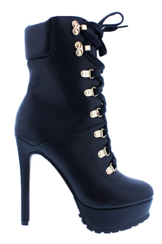 PU Platform Lace Up Bootie