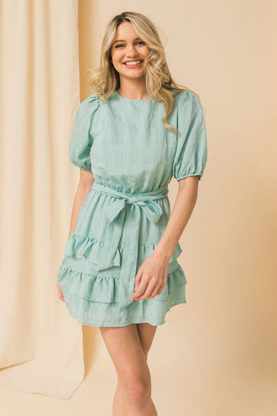 Ballon Sleeve Tiered Ruffle hemming and Self Say Tie Mini Dress
