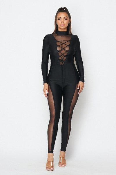 Lace Up Mesh Jumpsuit