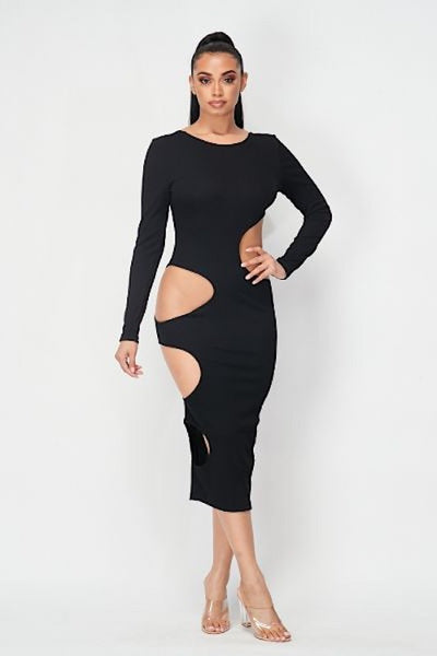 Cut Out Ribbed Midi Dress