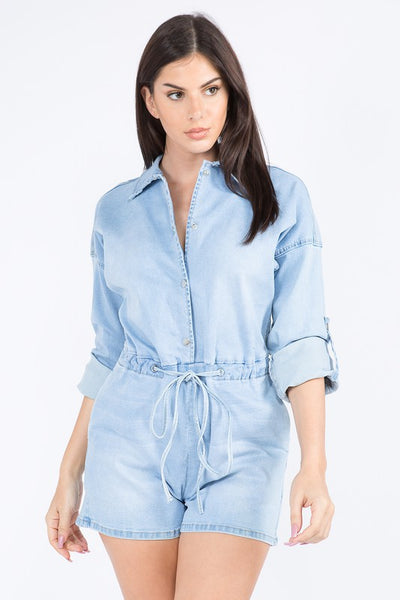 Denim Romper with Chains