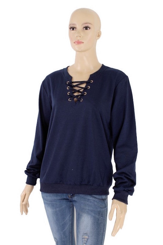 Criss Cross Drawstring Long Sleeve Sweatshirt