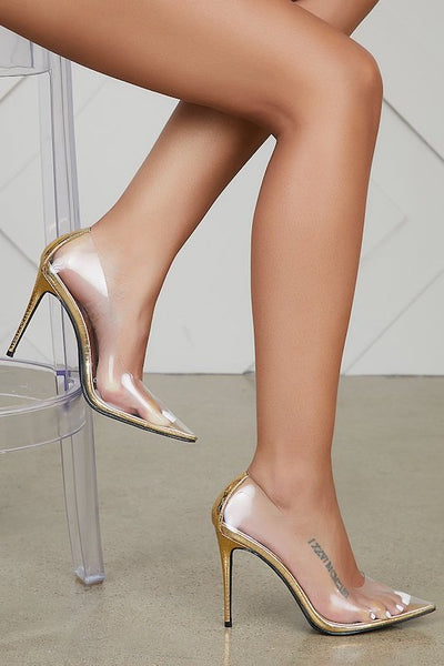 Clear Thin Pointy Toe Heel
