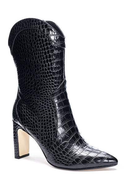 Short Black Cowboy Boot with Heel