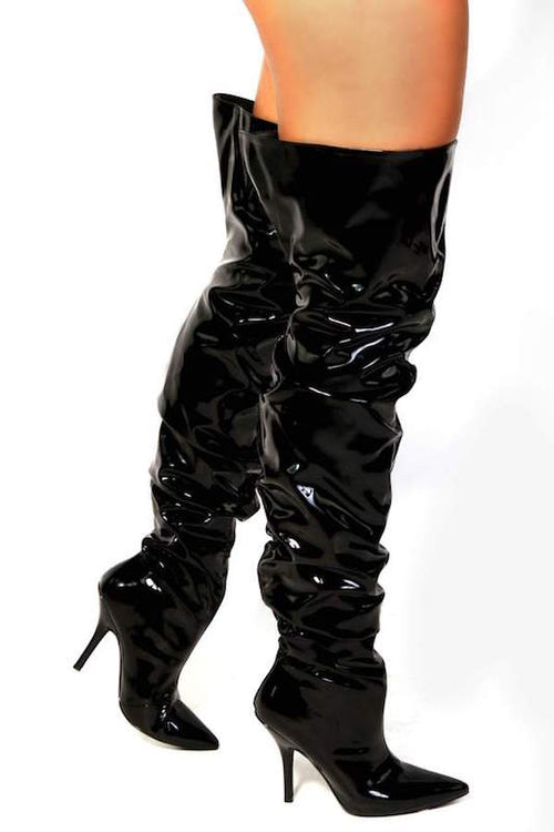Scrunch Up Pointy Thigh High Boot