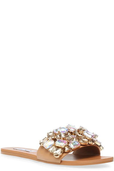 STEVE MADDEN Flat Sandals with Big Rhinestones Detail