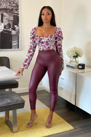 Solid PU Leather Leggings