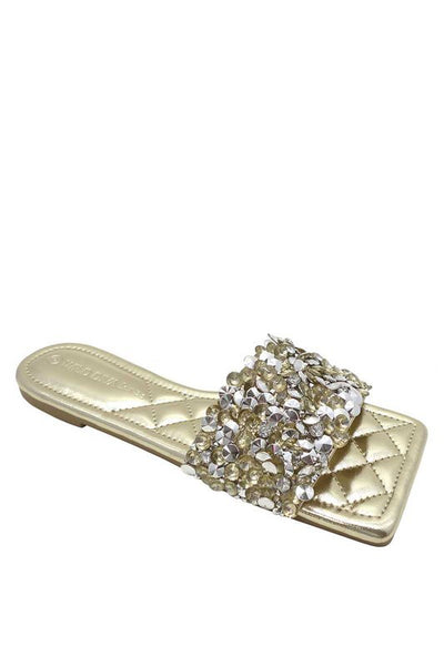 Quilted Slide with Rhinestones