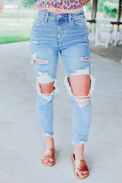 High Rise Distressed Crop Straight Jeans