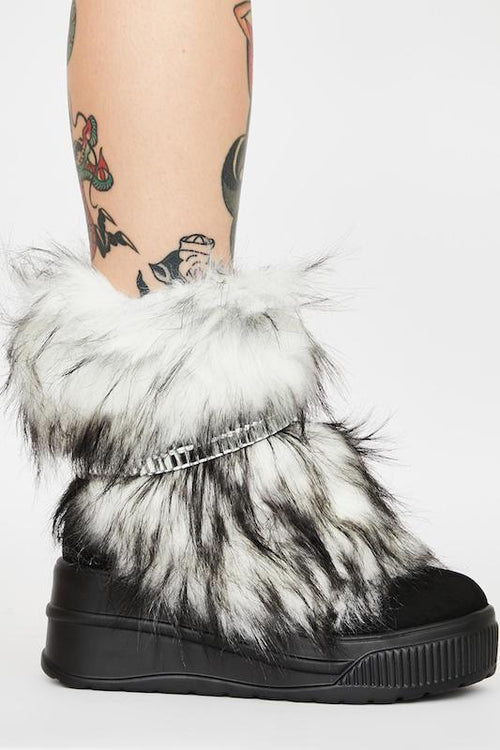 Fur Bootie with Rhinestone Strap