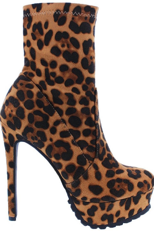 Leopard Bootie with Thick Heel