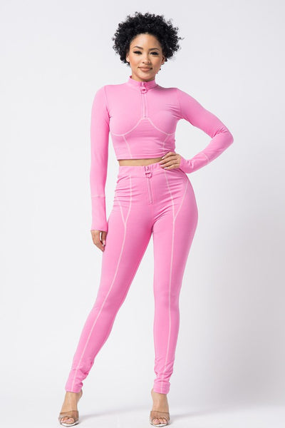 Sporty Long Sleeve Crop Top and Pants Set