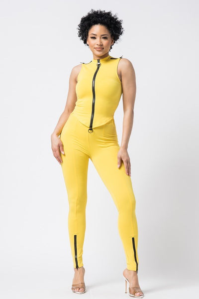 Sleeveless Zipper Crop Top & Pants Set