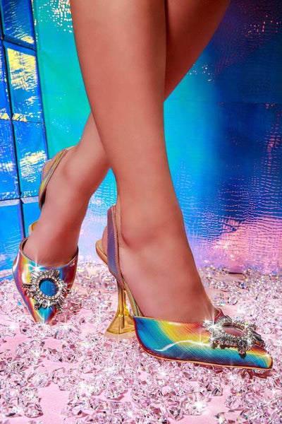 Clear Strap Diamond Stiletto Heel
