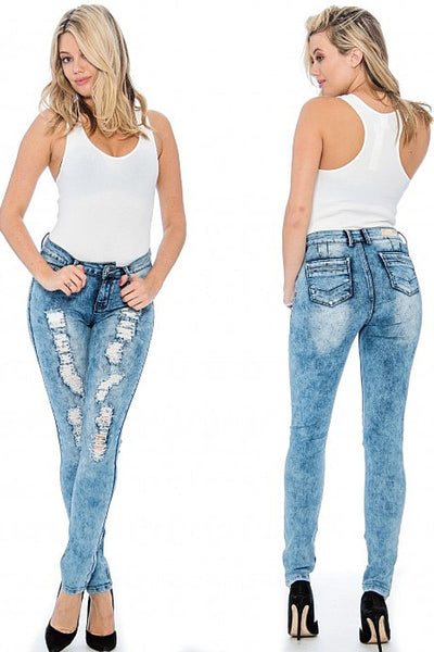 Destroyed Jeans with Rhinestone