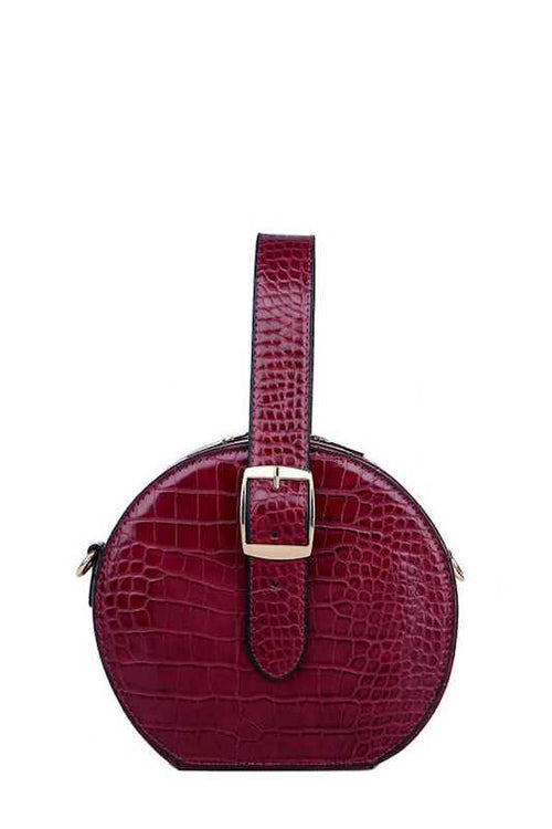 Round Crocodile Print Crossbody Bag