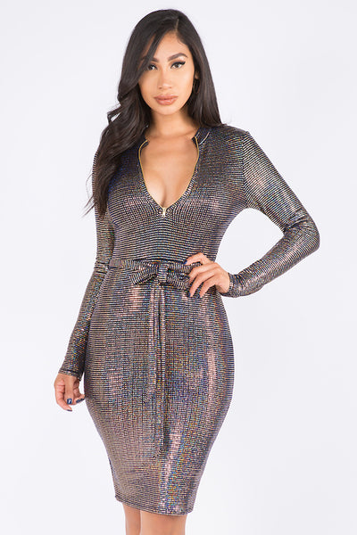 Sequins Dress with Zipper & Waist Tie