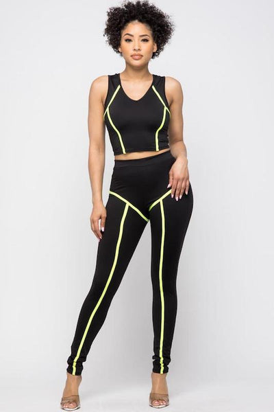V Neck Sleeveless Crop Top with Pull on Pants with Contrast Piping Detail