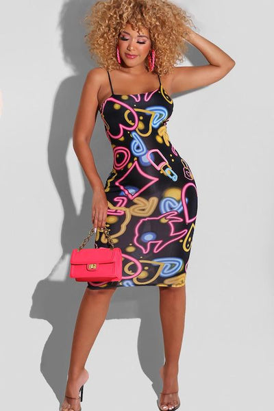 Neon Shapes Spaghetti Strap Midi Dress