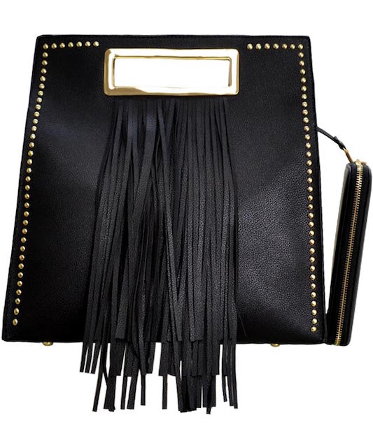 Square Tote Handbag with Fringe Accent