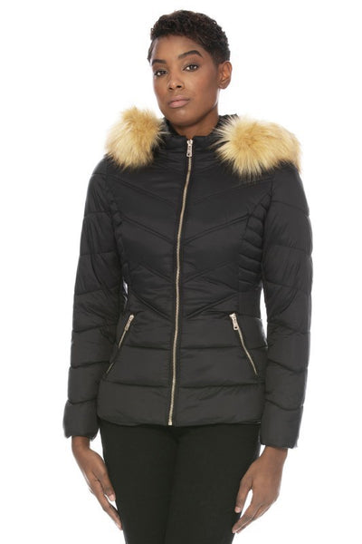 Short Hooded Faux Fur Lined Quilted Jacket