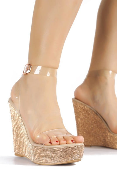 Clear Strap Platform High Heel Wedge Sandal