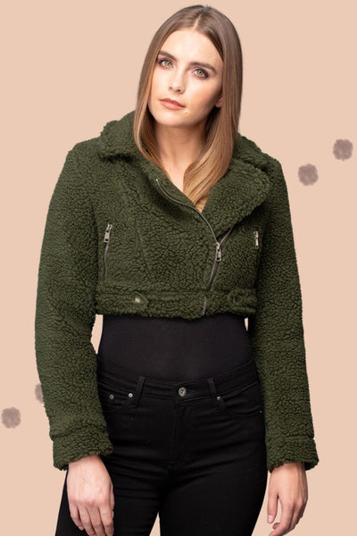 Teddy Crop Zipper Jacket