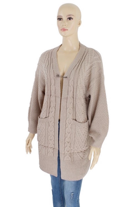 Cable Knit Woven Cardigan