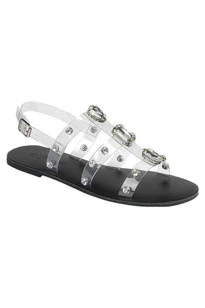 Clear Band Sandal with Stones Detail