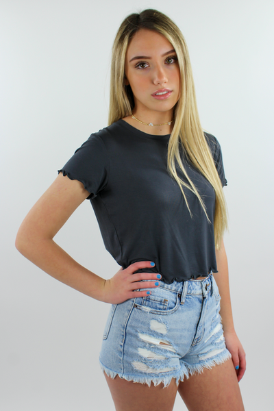 Ribbed Mellow Neck Line Short Sleeve Top