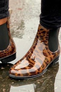 Leopard Short Rain boot