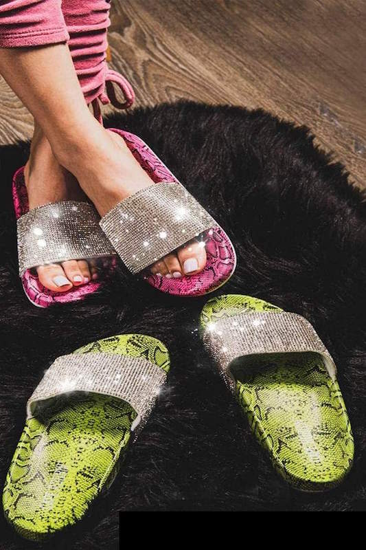 Snakeprint Studded Slide
