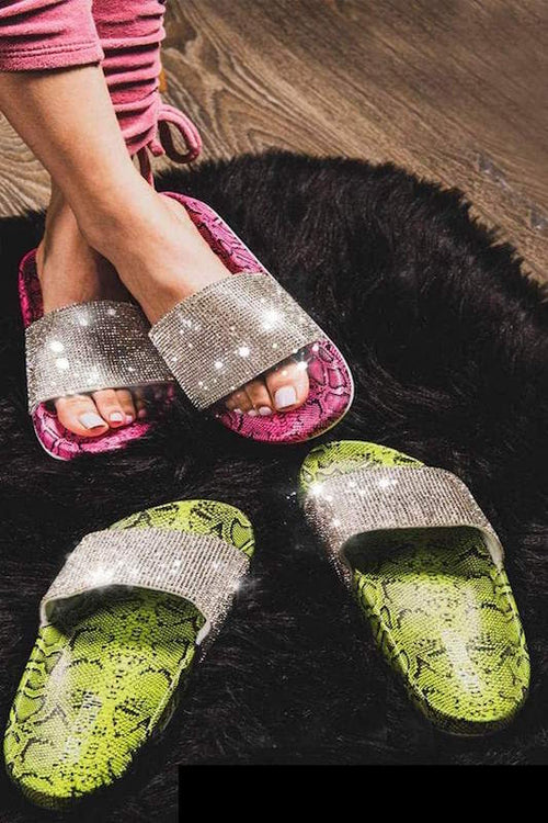 Snakeprint Studded Slip On Slide