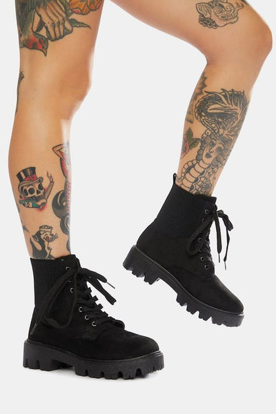 Chunky Sole Lace Up Bootie