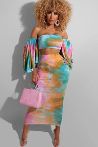 Sleeved Tie Dye Tube Top and Skirt Set