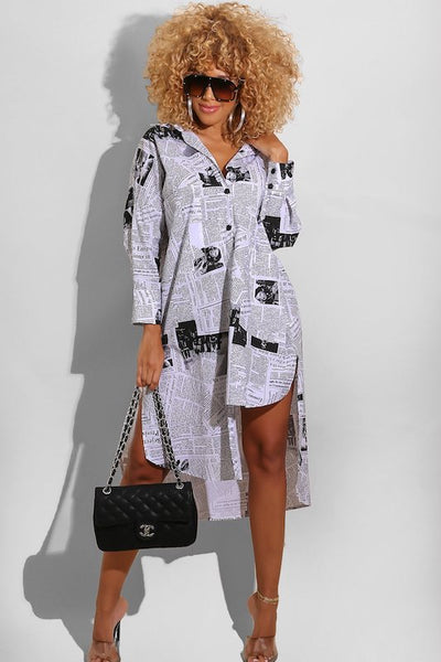 News Print Long Sleeve Front Button Uneven Tunic Top