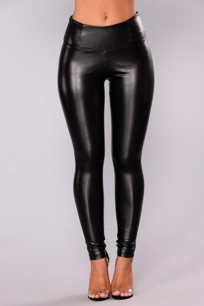 Pull Up Faux Leather Legging