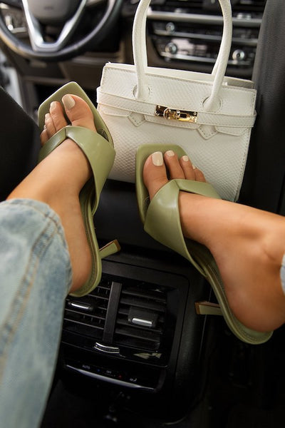 Square Toe Sandal With Heel