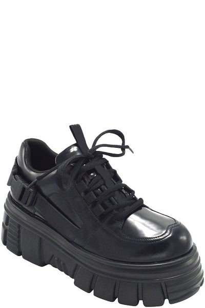 Thick Sole Lace Up Sneaker with Buckle