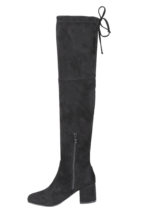 Thigh High Boot with Thick Heel