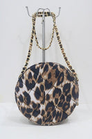 Leopard Circular Quilted Crossbody Bag