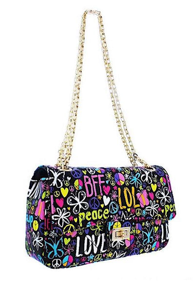 Graffiti Quilted Crossbody Bag