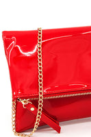 Solid Shinny PVC Fold Over Clutch With Strap