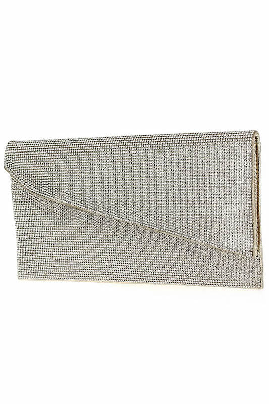 Rhinestone Folded Clutch