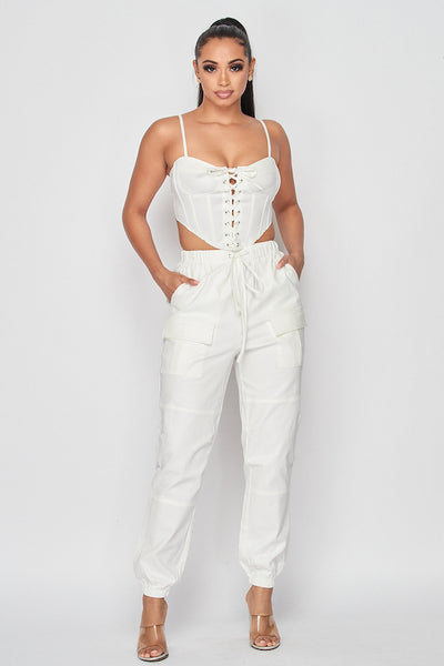 Shiny Crop Push Up Top and Jogger Pants