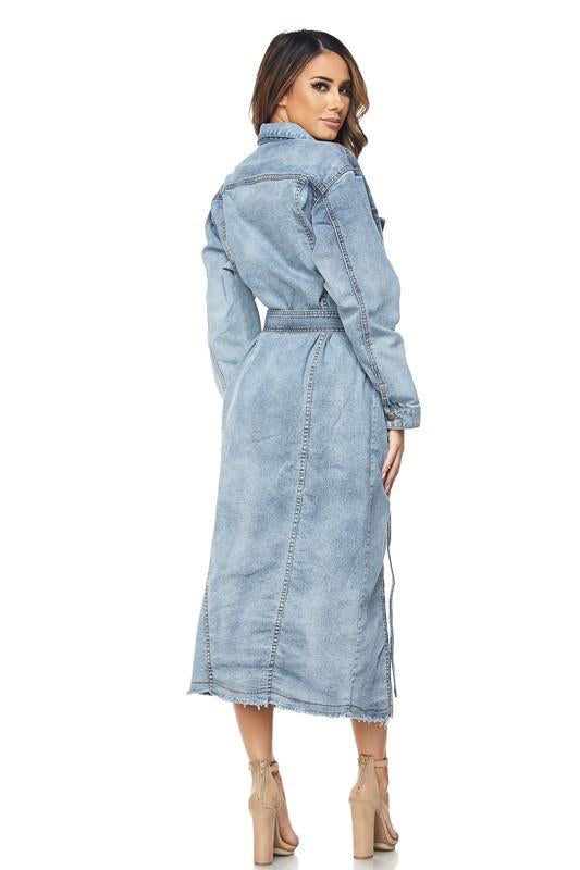 Denim Long Trench Coat