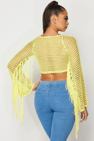 Crochet Fringe Sleeve Crop Top